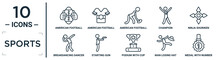 Sports Linear Icon Set. Includes Thin Line American Football Player Hand Holding The Ball, American Football Player, Ninja Shuriken, Starting Gun, Man Losing Hat, Medal With Number 1, Breakdancing