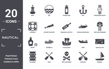 Nautical Icon Set. Include Creative Elements As Buoy, Water Resist Watch, Roofless Speed Boat, Old Galleon, Oars, Whisky Filled Icons Can Be Used For Web Design, Presentation, Report And Diagram