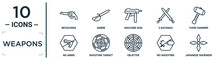 Weapons Linear Icon Set. Includes Thin Line Revolvers, Machine Gun, Thor Hammer, Shooting Target, No Shooting, Japanese Shuriken, No Arms Icons For Report, Presentation, Diagram, Web Design