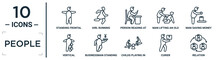 People Linear Icon Set. Includes Thin Line Standing Frontal Man, Person Reading At The Office, Man Saving Money, Businessman Standing With Yen, Curier, Relation, Vertical Icons For Report,