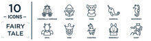 Fairy.tale Linear Icon Set. Includes Thin Line Cinderella Carriage, Ogre, Seahorses, King, Werewolf, Giant, Devil Icons For Report, Presentation, Diagram, Web Design