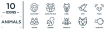 Animals Linear Icon Set. Includes Thin Line Male Sheep, Camel, Panda, Squirrel, Cat, Globe Fish, Racoon Icons For Report, Presentation, Diagram, Web Design