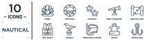 Nautical Linear Icon Set. Includes Thin Line Pearl, Starfish, Nautical Map, Seagull, Buoys, Double Bait, Life Jacket Icons For Report, Presentation, Diagram, Web Design