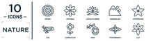 Nature Linear Icon Set. Includes Thin Line Peony, Lotus Flower, Hypericum, Carnation, Peppermint, Lily, Tea Icons For Report, Presentation, Diagram, Web Design