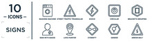 Signs Linear Icon Set. Includes Thin Line Washing Machine, Shock, Brackets Grouping, Love Pointer, Gender, Arrow Bolt, Man With Badge Icons For Report, Presentation, Diagram, Web Design