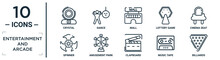 Entertainment.and.arcade Linear Icon Set. Includes Thin Line Crystal, Mall, Cinema Seat, Amusement Park, Music Tape, Billiards, Spinner Icons For Report, Presentation, Diagram, Web Design