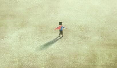 Conceptual artwork, imagination dream and hope concept, Superhero boy, kid painting, 3d illustration, surreal art
