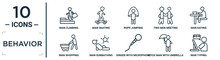 Behavior Linear Icon Set. Includes Thin Line Man Climbing, Rope Jumping, Man Eating, Man Sunbathing, Stick With Umbrella, Typing, Shopping Icons For Report, Presentation, Diagram, Web Design
