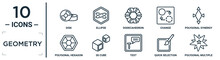 Geometry Linear Icon Set. Includes Thin Line Disk, Dodecahedron, Polygonal Synergy Shapes, 3d Cube, Quick Selection, Polygonal Multiple Stars, Polygonal Hexagon Icons For Report, Presentation,