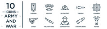 Army.and.war Linear Icon Set. Includes Thin Line Chevron, Militar Tent, Chamber, Military Knife, Airplane Bomb, Revolt, Canon Icons For Report, Presentation, Diagram, Web Design