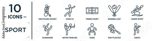 Fotografia sport linear icon set