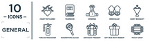 General Linear Icon Set. Includes Thin Line Heart In Flames, Winning, Daisy Bouquet, Magnifiying Glass, Gift Box With Ribbon, Patch Crop, Fire Estinguisher Icons For Report, Presentation, Diagram,