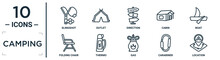 Camping Linear Icon Set. Includes Thin Line Slingshot, Direction, Boat, Thermo, Carabiner, Location, Folding Chair Icons For Report, Presentation, Diagram, Web Design