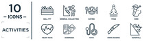 Activities Linear Icon Set. Includes Thin Line Ball Pit, Eating, Sing, Dominoes, Knife Making, Downhill, Heart Rate Icons For Report, Presentation, Diagram, Web Design