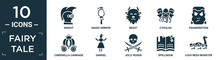 Filled Fairy Tale Icon Set. Contain Flat Knight, Magic Mirror, Beast, Cthulhu, Frankenstein, Cinderella Carriage, Damsel, Jolly Roger, Spellbook, Loch Ness Monster Icons In Editable Format..