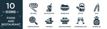 Filled Food And Restaurant Icon Set. Contain Flat Soy Eggs, Dulce De Leche, Peking Duck, Tea Pot, Soya, Buddhas Delight, Doguinho, Kung Pao Chicken, Champagne Glass, Cookies Jar Icons In Editable.