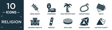 Filled Religion Icon Set. Contain Flat Israel Barley, Communion, Palm Tree With Date, Muslim Tasbih, Matzo, Solomon Temple In Jerusalem, Mezuzah, Apple Cake, Hamantaschen, Captives To Egypt Icons In.