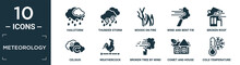 Filled Meteorology Icon Set. Contain Flat Hailstorm, Thunder Storm, Woods On Fire, Wind And Bent Fir, Broken Roof, Celsius, Weathercock, Broken Tree By Wind, Comet And House, Cold Temperature Icons.