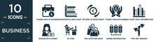 Filled Business Icon Set. Contain Flat Pounds Bag Of Business, Horizontal Bar Chart, Return Of Investment, Pound Coin On Hands, Bar Chart Dual Information, Woman With Money, Sitting, Two Shopping.