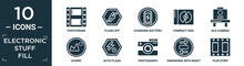 Filled Electronic Stuff Fill Icon Set. Contain Flat Photogram, Flash Off, Charging Battery, Compact Disc, Old Camera, Scenic, Auto Flash, Photograph, Panorama With Right Arrow, Film Strip Icons In.