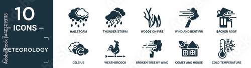 Canvas filled meteorology icon set