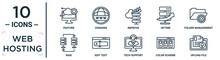 Web.hosting Linear Icon Set. Includes Thin Line Feature, Improve, Folder Management, Edit Text, Color Scheme, Upload File, Raid Icons For Report, Presentation, Diagram, Web Design
