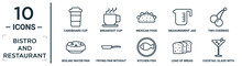 Bistro.and.restaurant Linear Icon Set. Includes Thin Line Cardboard Cup, Mexican Food, Two Cherries, Frying Pan Without A Cover, Load Of Bread, Cocktail Glass With Ice Cube, Boiling Water Pan Icons