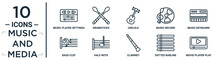 Music.and.media Linear Icon Set. Includes Thin Line Music Player Settings, Ukelele, Music Keyboard, Half Note, Dotted Barline, Movie Player Play Button, Bass Clef Icons For Report, Presentation,