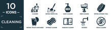 Filled Cleaning Icon Set. Contain Flat Cleaner, Wiping Swipe For Floors, Soap Cleanin, Sink Cleanin, Wiping Sponge Tool, Wiping Trash Container, Sponge Cleanin, Window Shower, Virus Icons In.