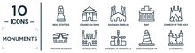 Monuments Linear Icon Set. Includes Thin Line Moia Statues, Sagrada Familia Building, Church Of The Holy Family, Barcelona, Great Mosque Of Samarra, Cathedral, Dpr/mpr Building Icons For Report,