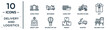 delivery.and.logistics linear icon set. includes thin line cargo train, cargo ship, gift, delivery hot air balloon, scooter, delivery x ray, weight limit icons for report, presentation, diagram, web