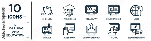 Fototapeta e.learning.and.education linear icon set. includes thin line sociology, vocabulary, links, raise hand, tutorial, blended learning, geology icons for report, presentation, diagram, web design obraz