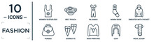 Fashion Linear Icon Set. Includes Thin Line Women Sleeveless Shirt, Pajamas, Sweater With Pocket, Barrette, Coif, Wool Scarf, Purses Icons For Report, Presentation, Diagram, Web Design