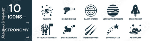 Slika na platnu filled astronomy icon set
