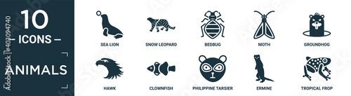 Fototapeta filled animals icon set