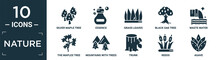 Filled Nature Icon Set. Contain Flat Silver Maple Tree, Essence, Grass Leaves, Black Oak Tree, Waste Water, The Maples Tree, Mountains With Trees, Trunk, Reeds, Agave Icons In Editable Format..