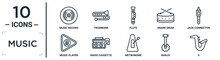 Music Linear Icon Set. Includes Thin Line Music Record, Flute, Jack Connector, Radio Cassette, Banjo, S, Music Player Icons For Report, Presentation, Diagram, Web Design