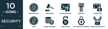 Filled Security Icon Set. Contain Flat Boxing Helmet, Court Gavel, Secure Envelope, Race Suit, Locked Card, Hash, Secure Database, Open Access, Lock Graphic Interface Security, Locked Padlock With.