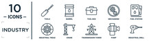 Industry Linear Icon Set. Includes Thin Line Tools, Tool Box, Fuel Station, Crane, Pump, Industrial Drill, Industrial Tread Icons For Report, Presentation, Diagram, Web Design