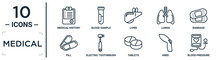 Medical Linear Icon Set. Includes Thin Line Medical History, Liver, Bandage, Electric Toothbrush, Knee, Blood Pressure, Pill Icons For Report, Presentation, Diagram, Web Design