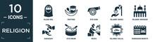 Filled Religion Icon Set. Contain Flat Hijab Veil, Fasting, Eyd Gun, Islamic Wudu, Islamic Mosque, Sadaqah, Eyd Drum, Wudu, Islamic Halal, Ramadan Month Icons In Editable Format..