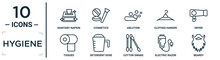 Hygiene Linear Icon Set. Includes Thin Line Sanitary Napkin, Ablution, Dryer, Detergent Dose, Electric Razor, Beardy, Tissues Icons For Report, Presentation, Diagram, Web Design