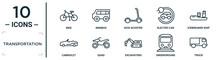 Transportation Linear Icon Set. Includes Thin Line Bike, Kick Scooter, Icebreaker Ship, Quad, Underground, Truck, Cabriolet Icons For Report, Presentation, Diagram, Web Design