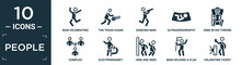 Filled People Icon Set. Contain Flat Man Celebrating, The Texas Chain Saw Massacre, Dancing Man, Ultrasonography, King In His Throne, Complex, Electromagnet, Hide And Seek, Man Holding A Flag,.