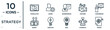 strategy linear icon set. includes thin line translator, businessman, conference, creative, strength, target, money icons for report, presentation, diagram, web design