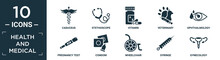 Filled Health And Medical Icon Set. Contain Flat Caduceus, Stethoscope, Vitamin, Veterinary, Ophthalmology, Pregnancy Test, Condom, Wheelchair, Syringe, Gynecology Icons In Editable Format..