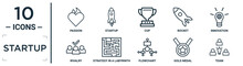 Startup Linear Icon Set. Includes Thin Line Passion, Cup, Innovation, Strategy In A Labyrinth, Gold Medal, Team, Rivalry Icons For Report, Presentation, Diagram, Web Design