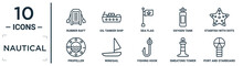 Nautical Linear Icon Set. Includes Thin Line Rubber Raft, Sea Flag, Starfish With Dots, Windsail, Smeatons Tower, Port And Starboard, Propeller Icons For Report, Presentation, Diagram, Web Design
