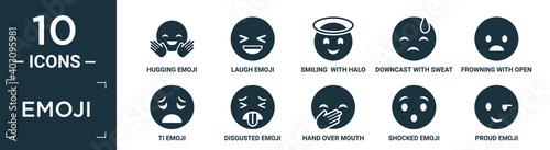 Fototapeta filled emoji icon set