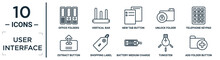 User.interface Linear Icon Set. Includes Thin Line Office Folders, New Tab Button, Telephone Keypad, Shopping Label, Tungsten, Add Folder Button, Extract Button Icons For Report, Presentation,